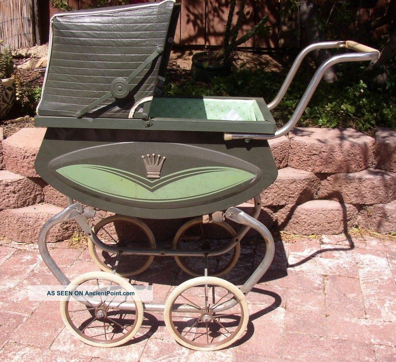 Vintage Mid - Century Steel Baby Pram/stroller,  - Displays Nicely Baby Carriages & Buggies photo