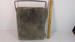 Antique Gray Soapstone Buggy Sleigh Foot Warmer 8 X 10 X 1 1/8 Inch Wire Handle photo
