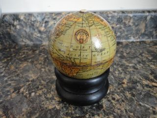 Antique Small Wood World Globe String Thread Holder - Ashworth ' S Machine Cotton photo