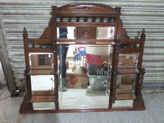 Victorian Walnut 5 Mirror Overmantle C.  1880 [3231] photo