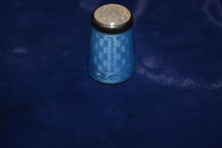 Norwegian Guilloche Enamel Silver Thimble Moonstone Art Deco 1920s Aksel Holmsen photo