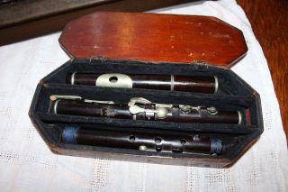 Antique Wooden Flute: D ' Almaine 8 Key Flute photo