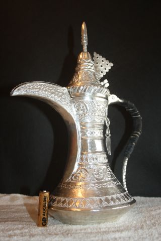 Pure Silver Nizwa Unique Very Rare Antique Coffee Pot Signature Bedouin Dallah photo