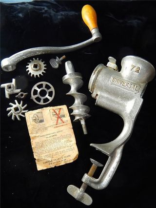 Vtg Landers,  Frary & Clark No.  72 Universal Table Top Hand Crank Meat Grinder photo