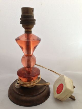 Vintage Art Deco Style Orange Glass & Brass/copper ? Electric Lamp photo