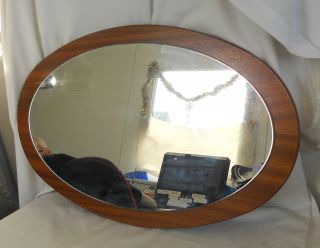 Stunning Vintage Collectable Antique Wooden Framed Oval Mirror 57cm X 37cm photo