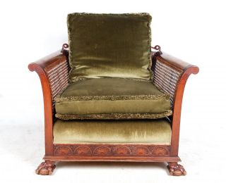 Antique French Bergere Chair Lounge Parlour Salon Chair Walnut Caned Chair Art N photo