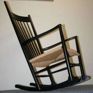 Vintage Danish Modern Black Lacquer & Paper Cord Hans Wegner Design Rocker Chair photo