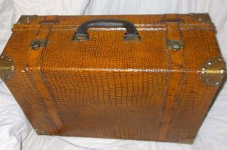 Vintage Suitcase / Trunk Alligator Pattern With Leather Straps And Brass Trim photo