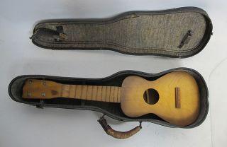 Antique Chestnut String - Less Ukulele W/leather Case Nr Yqz photo