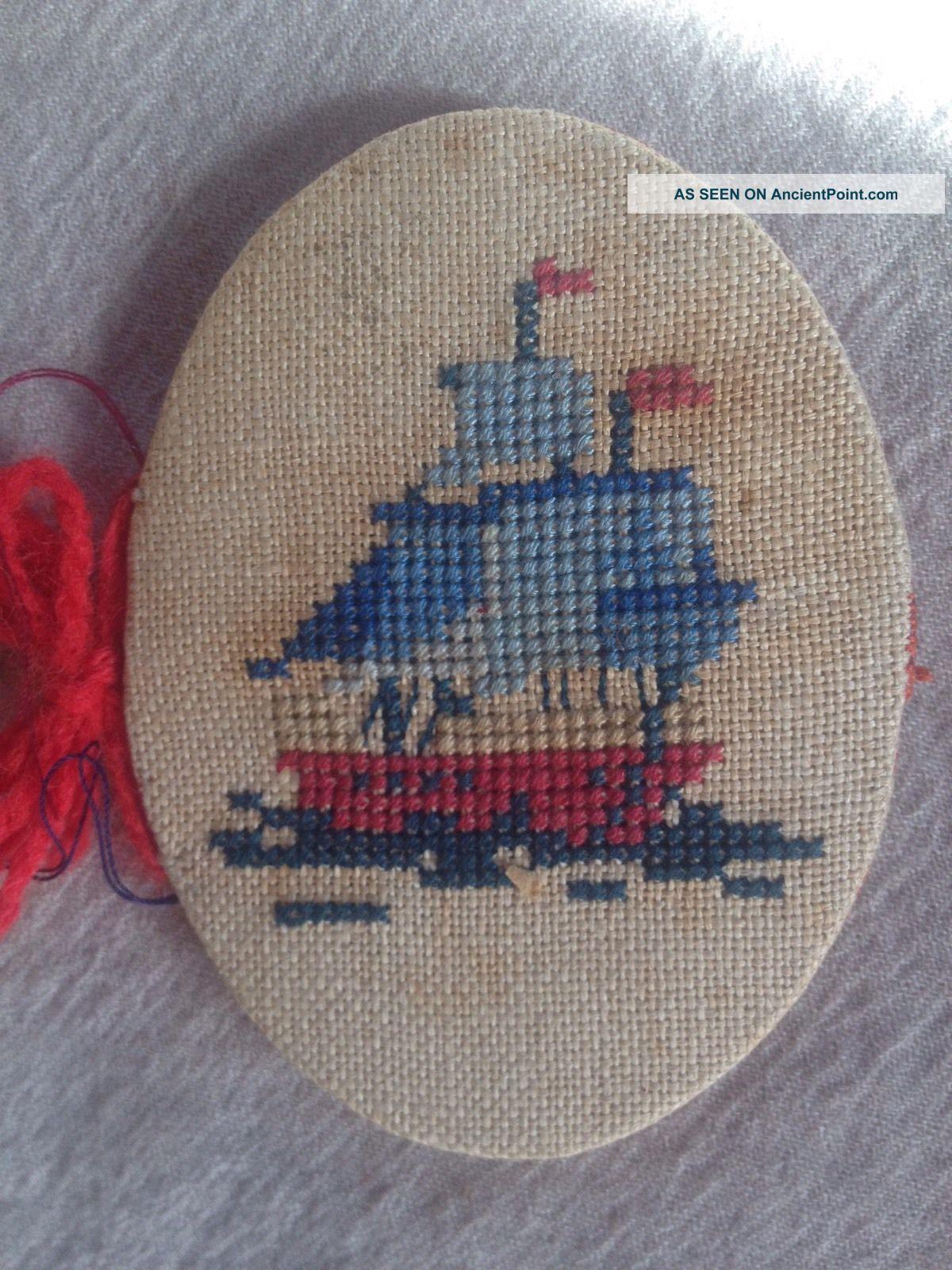 Antique Stitched Needle Case - Sailing Ship & Anchor Nautical Design Needles & Cases photo