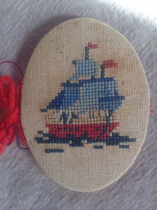 Antique Stitched Needle Case - Sailing Ship & Anchor Nautical Design photo