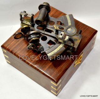Vintage Antique Style Nautical Antique Maritime Brass Sextant With Wooden Box photo