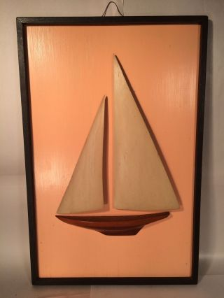 Vintage Half Hull Herreshoff Sailboat / Yacht Wood Sails Circa1940 ' S American photo
