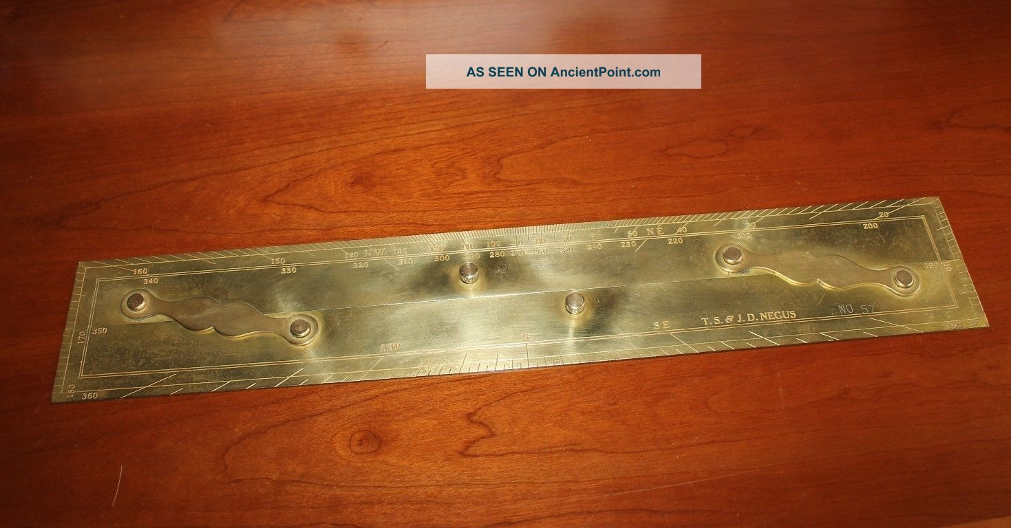 Vintage Antique T.  S.  & J.  D.  Negus 57 Maritime Navigation Brass Parallel Rule Parallel Rules photo
