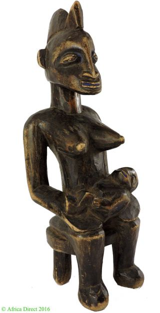 Senufo Maternity Figure On Stool Miniature Ivory Coast African Art photo