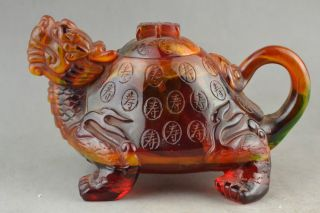 China Of Amber Carving Dragon Turtle Decoration Can Use A Teapot photo