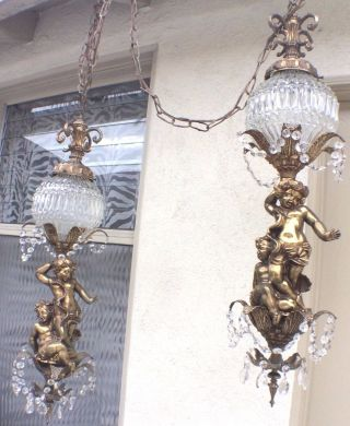 Vintage Hollywood Regency Swag Cherub X2 Chandeliers Putti Style photo