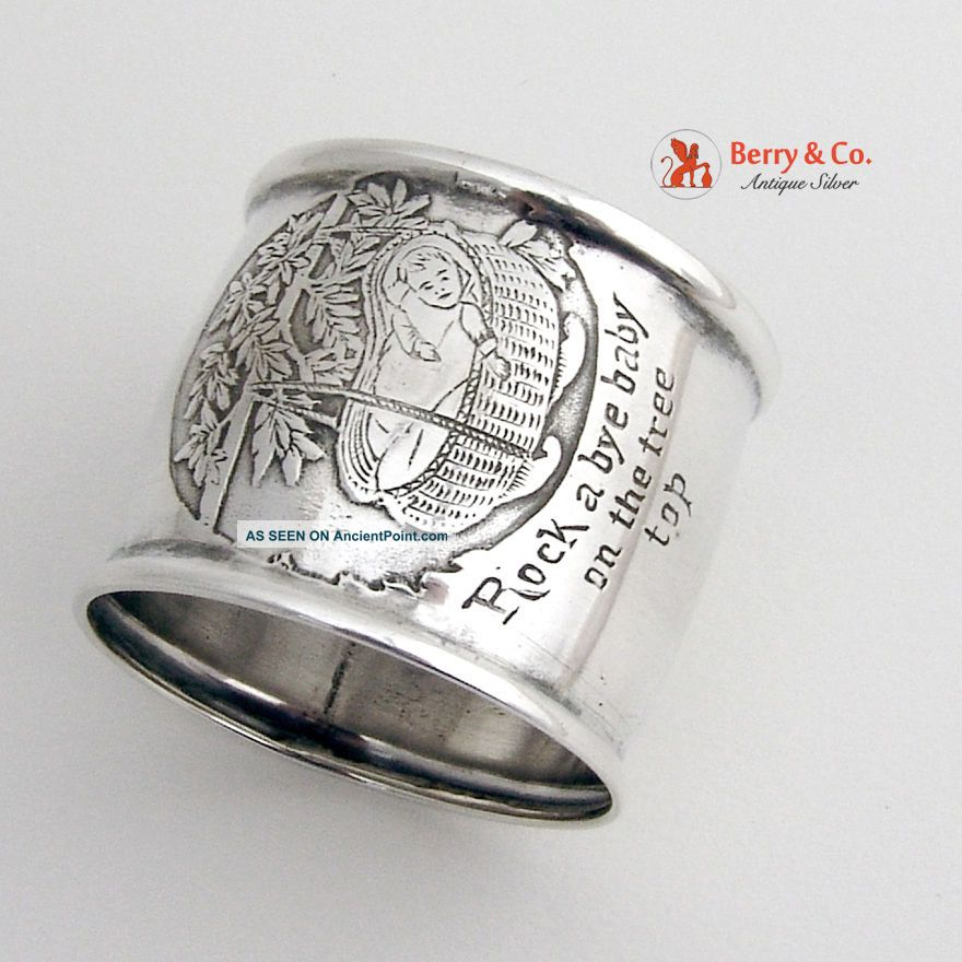 Rock A Bye Baby On The Tree Top Rhyme Napkin Ring Sterling Napkin Rings & Clips photo