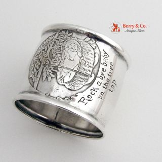Rock A Bye Baby On The Tree Top Rhyme Napkin Ring Sterling photo