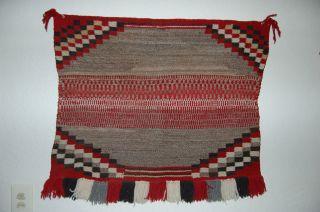 Antique Navajo Sundaysaddle Blanket With Twill Center photo