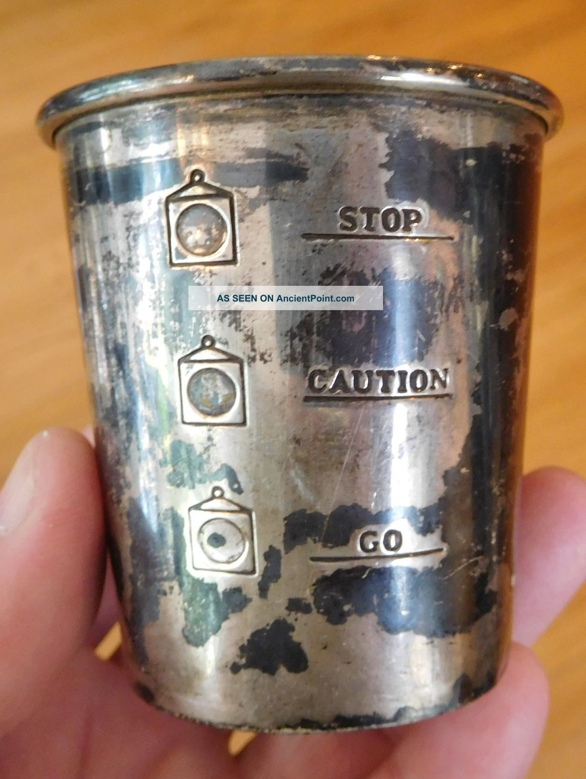 Alvin Sterling Silver 925 Stoplight Jigger Cup Go Caution Stop S275,  36.  8g Vtg Cups & Goblets photo