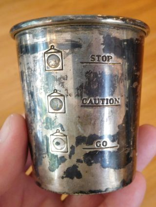 Alvin Sterling Silver 925 Stoplight Jigger Cup Go Caution Stop S275,  36.  8g Vtg photo