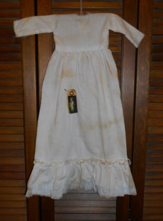 Prim Wall Dress Primitive Decor Embroidered Blue Flowers Nightgown,  Grungy photo
