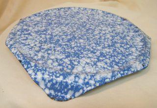 Antique Porcelain Enamelware Footed Trivet Speckled With Robins Egg Blue photo