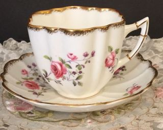 Vintage Victoria C&e Bone China Cup & Saucer Made In England Roses Handpainted photo