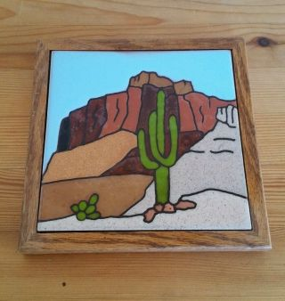 Vintage 1983 Fiesta Tiles Desert Cactus Scene Hand - Painted Ceramic Tile Art D15 photo