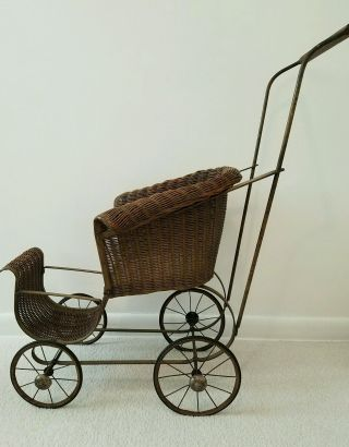 Vintage Wicker Baby Doll Carriage photo