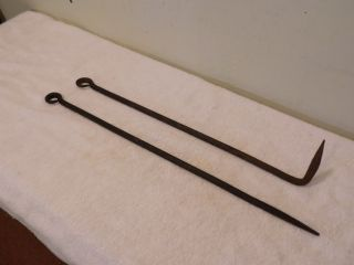 2 Antique Vintage Primitive Blacksmith Hand Forged Iron Fireplace Stove Pokers photo
