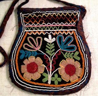 Antique Native American Haudenosaunee /iroquois Indian Beaded Purse/ Tobacco Bag photo