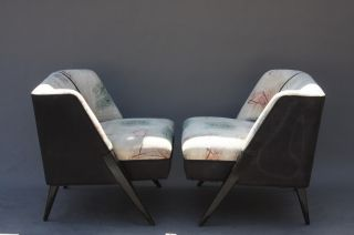 Vintage Art Deco Slipper Chairs - 1940s - Frankl Dunbar Mccobb Regency Modern photo