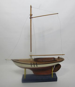 Vintage Hand Painted Pond Yacht Sailboat Wood Model 24