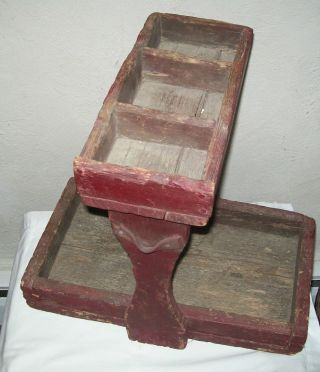 Rare Antique Primitive Wood Farrier Blacksmith Tool Nail Caddy Box photo