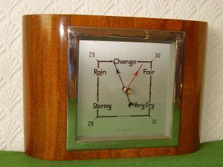 Antique Barometer Walnut & Chrome Case Art Deco Order Circa 1930 photo