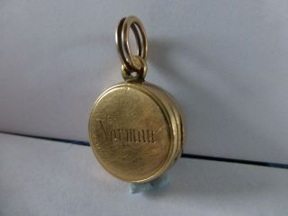Antique 9ct Gold Mourning Hair Locket & Compass Mourning Jewellery photo
