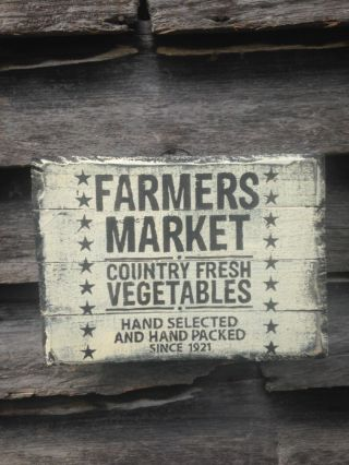 Hand Made Farmers Market Fresh Veg Sign Primitive Rustic Country Home Decor photo