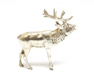 20th Century Continental Miniature Hand Engraved Sterling Silver Elk Figurine photo