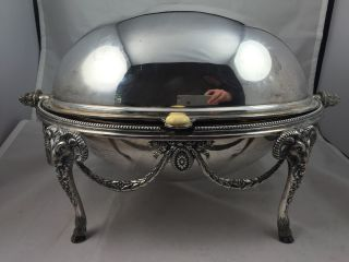 Antique Silver Plate Rams Head Breakfast Revolving Dome Serving Dish Sheffield photo