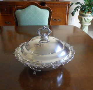 Vintage Silver Plate Footed Covered Bowl - Towle El Grandee (c.  1977) photo