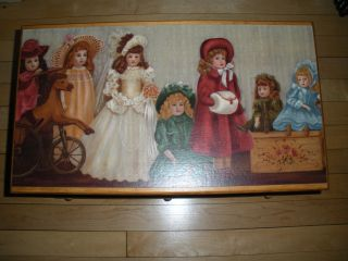 Vintage Hinged Wooden Child ' S Doll Trunk Chest / Bench.  Hand Made Circa 1990 ' S photo