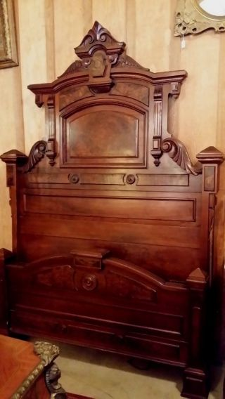 Wonderful 1870 ' S Victorian Walnut Bed photo