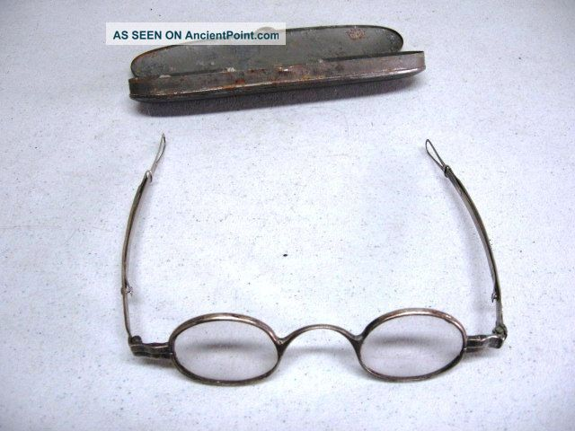 Rare American Early 19th C Coin Silver Eyeglasses / Spectacles Maker G.  Cooper Coin Silver (.900) photo