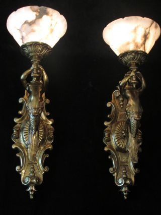 Art Deco Bronze & White Alabaster Wall Sconces W/ Mermaid Sculptures photo