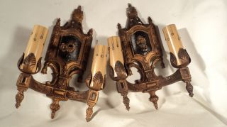 Pair Antique Double Light Solid Brass Sconces Wall Hugger photo