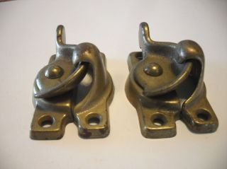 Two Vintage Brass Plated Cast Steel Window Sash Turn Locks Pre - Owned photo