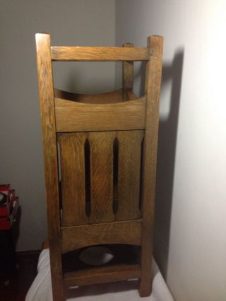 Arts & Crafts Period Mission Oak Umbrella Stand Very. photo